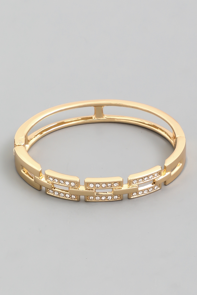 Rectangle Link Clasp Bangle Bracelet - orangeshine.com