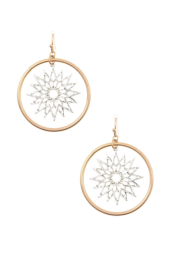 STAR CUT OUT ROUND LINK EARRING  - orangeshine.com