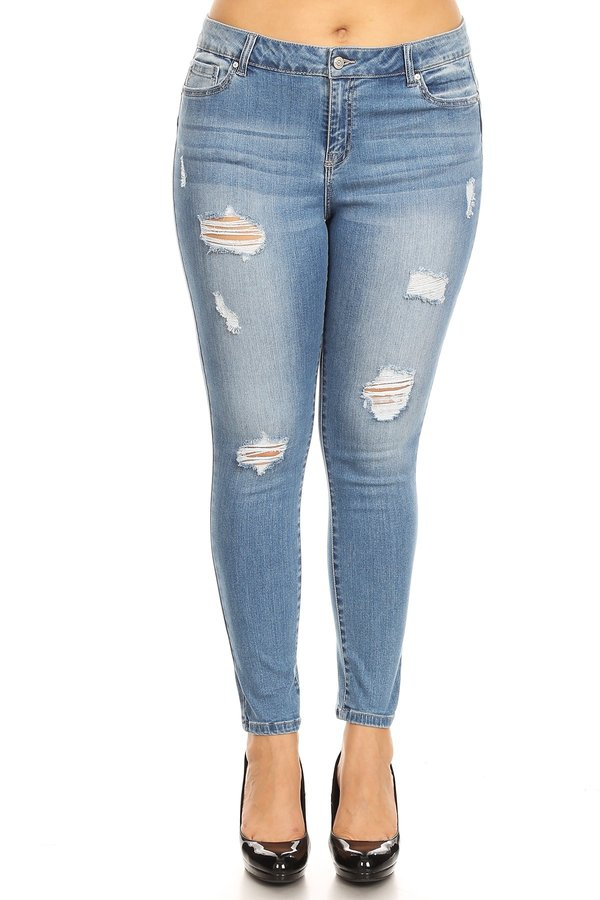 Plus Mid Rise Push Up Distressed - orangeshine.com