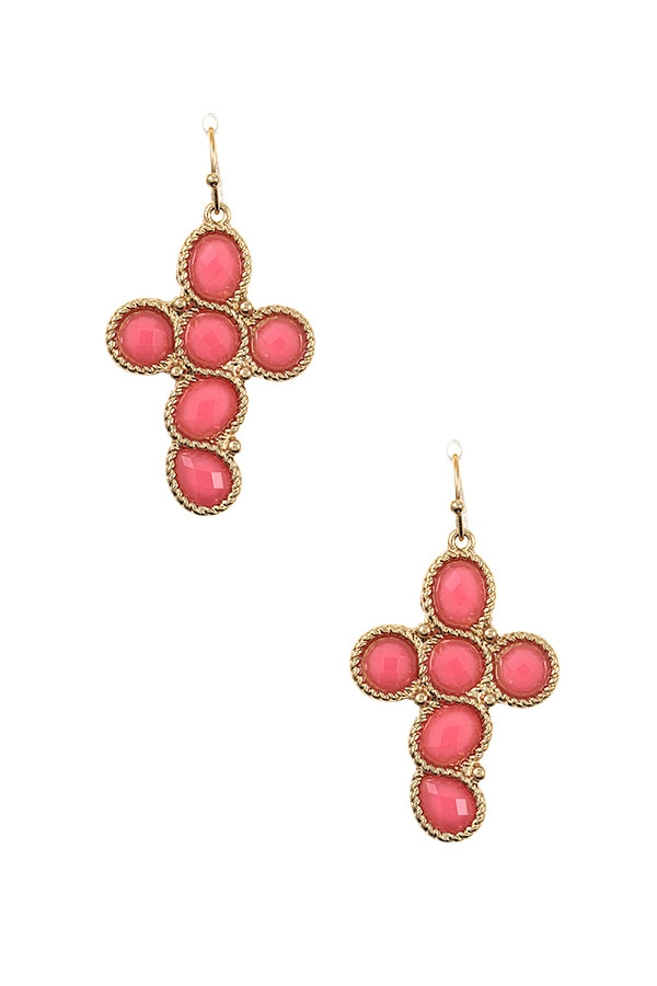 GEM FRAMED CROSS DANGLE EARRING - orangeshine.com