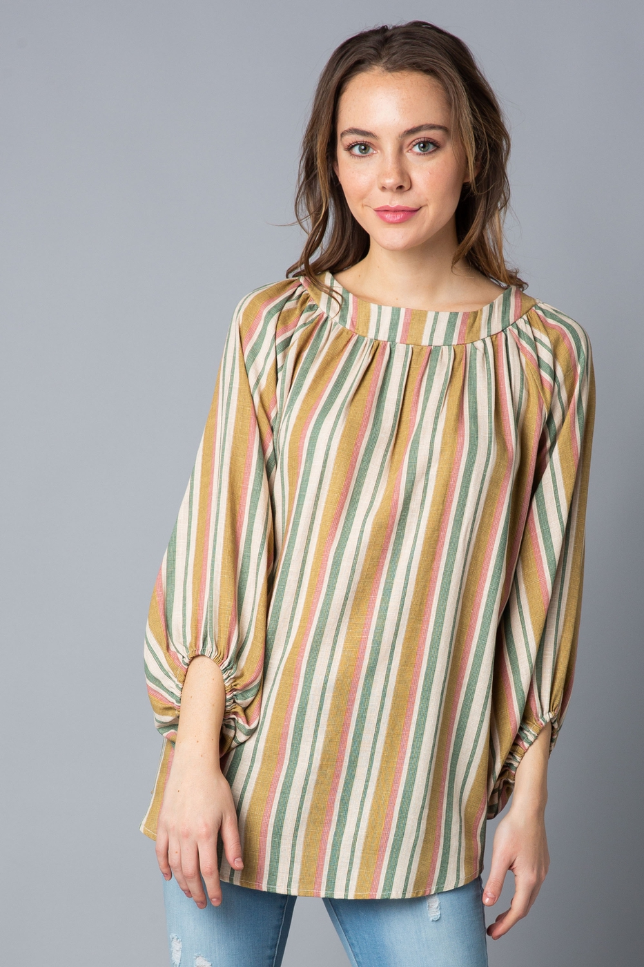 Half Puff Sleeve Blouse - orangeshine.com