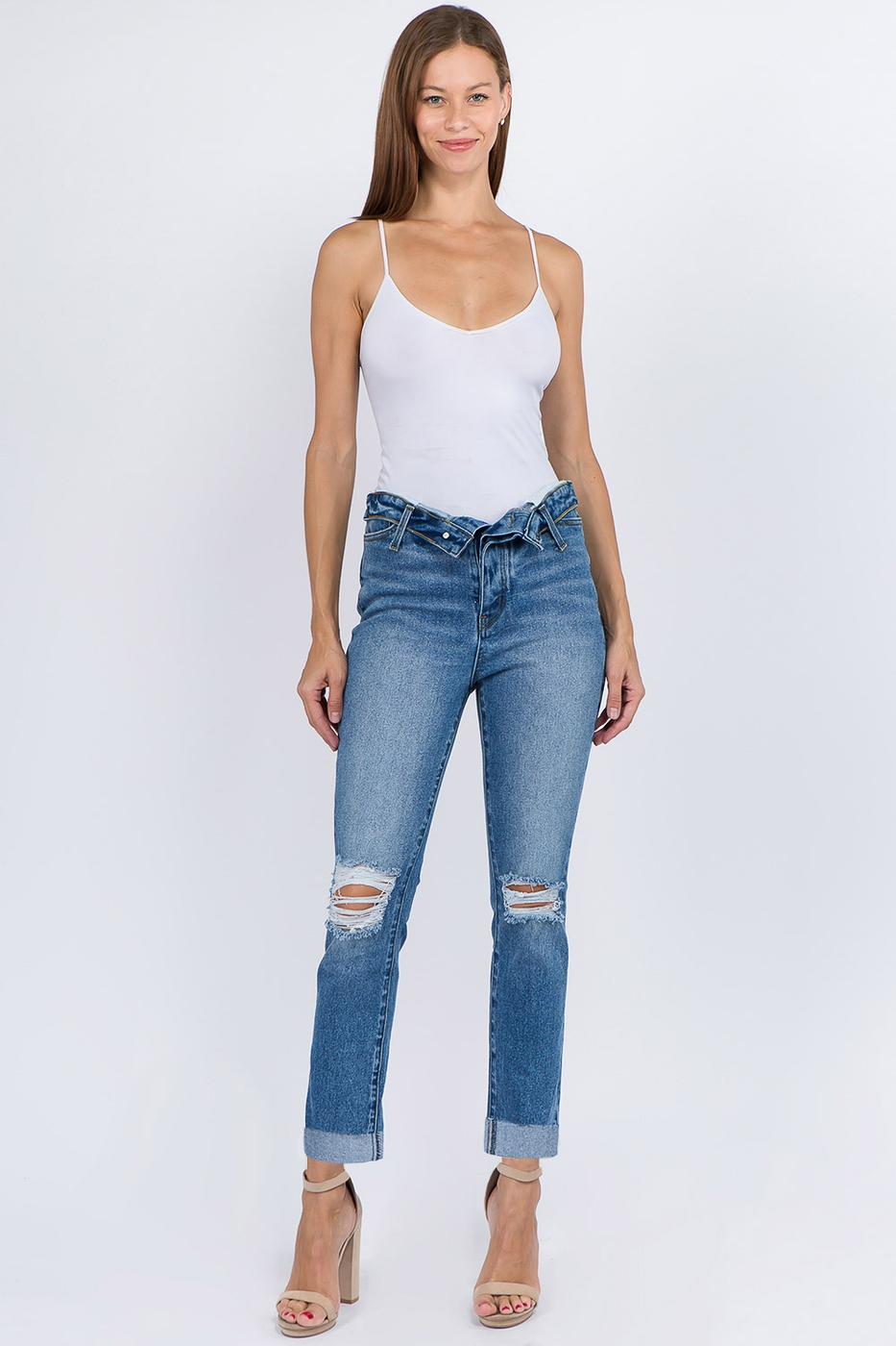 FLIPPED WAIST HIGH WAIST DENIM JEANS - orangeshine.com