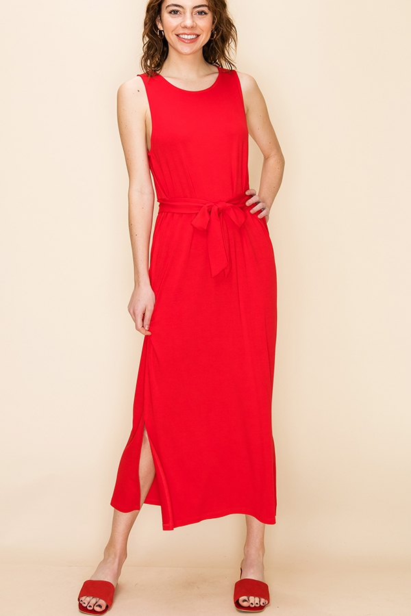 SLEEVELESS SHIFT MIDI DRESS - orangeshine.com