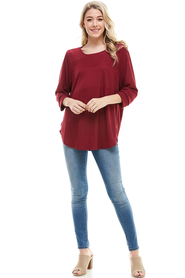 Ribbed Dolman Sleeve Curved Hem - orangeshine.com