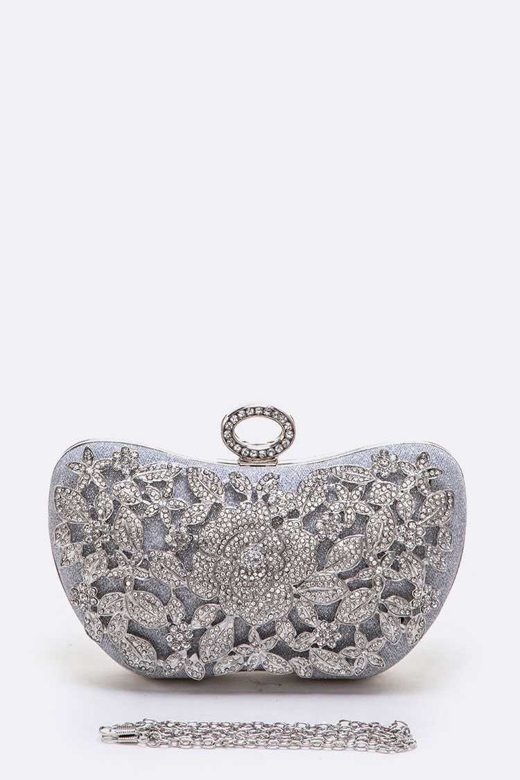 Crystal Flower Statement Box Clutch - orangeshine.com