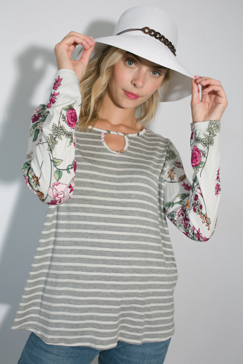 STRIPE FLORAL MIX KEY HOLE TUNIC TOP - orangeshine.com