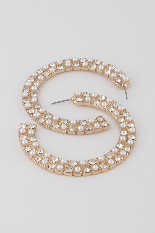 Pearl N Stone Hoop Earrings - orangeshine.com