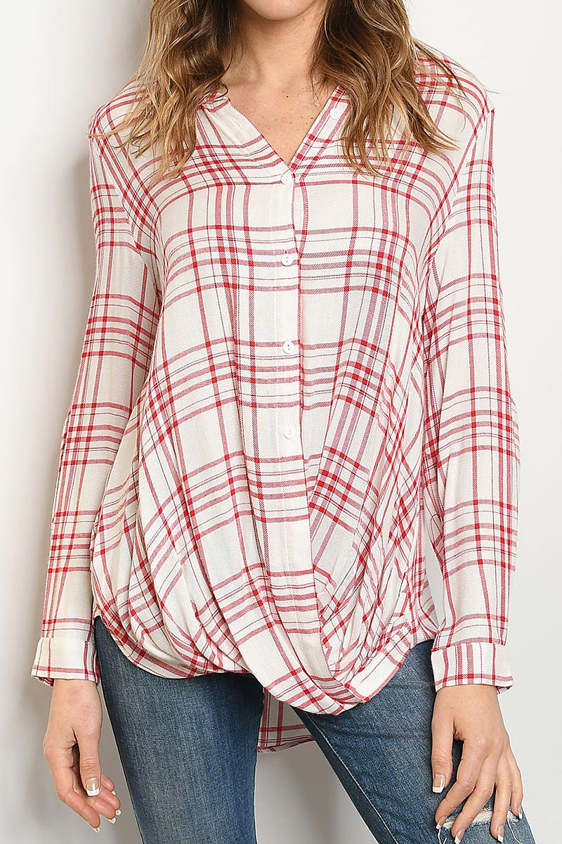 CHECKER BUTTON DOWN HI LO SHIRT TOP - orangeshine.com