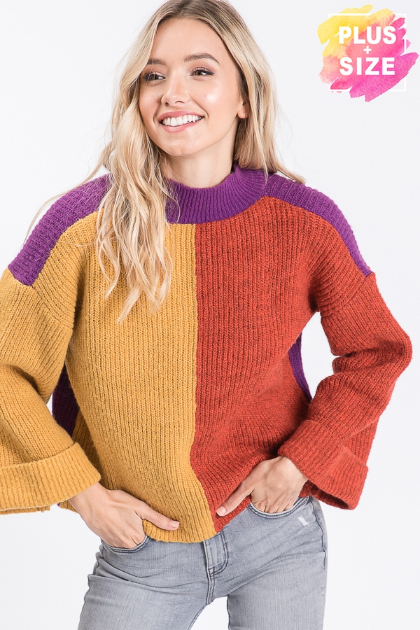 MULTI COLOR COLOR BLOCK SWEATER PLUS - orangeshine.com