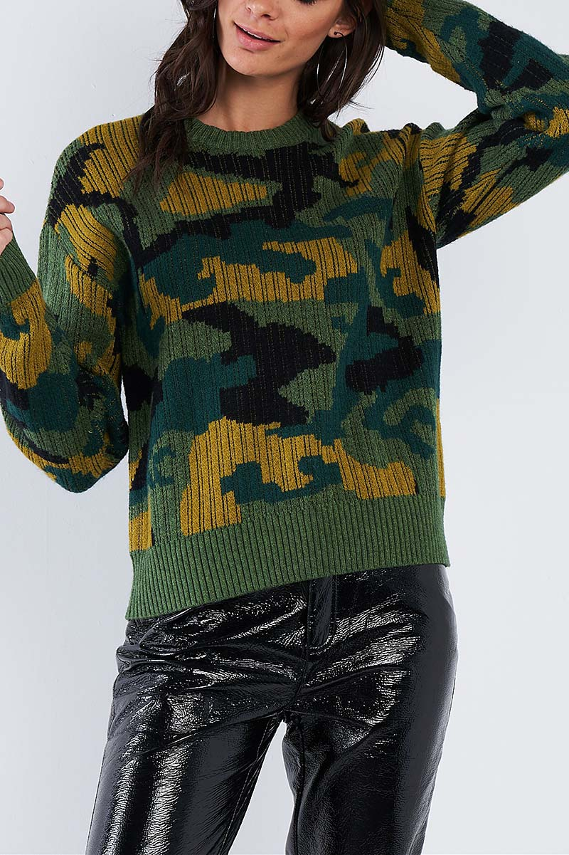 ARMY CAMO KNIT RELAXED FIT SWEATER  - orangeshine.com