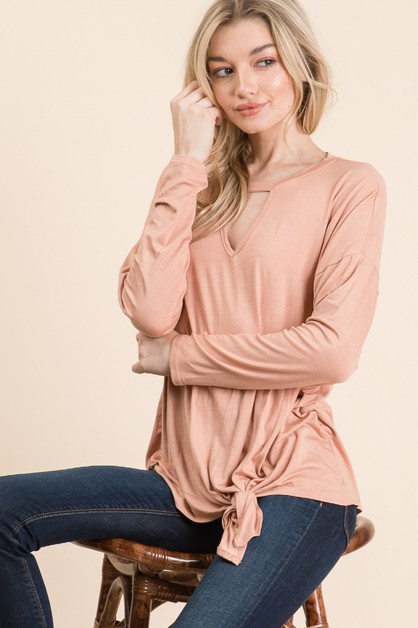SOLID RAYON KEY HOLE FRONT TIE TOP - orangeshine.com