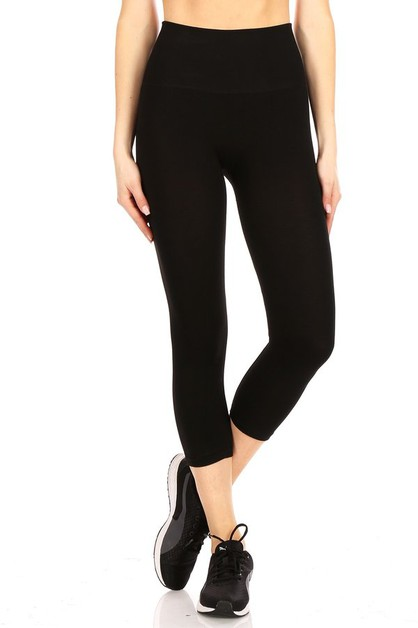 Black Sports Capris Leggings Yoga  - orangeshine.com