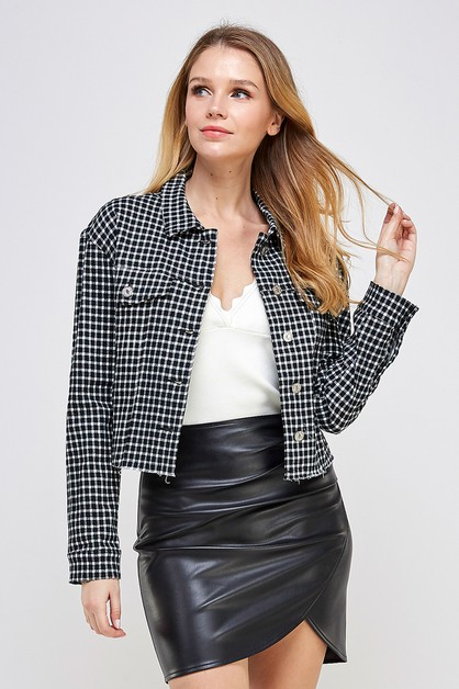 PLAID CROPPED JACKET       - orangeshine.com
