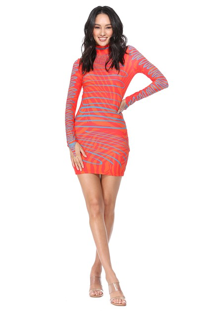 Printed High Collar Bodycon Dress - orangeshine.com