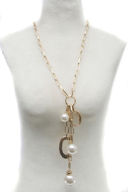 METAL CHAIN WITH PEARL LONG NECKLACE - orangeshine.com