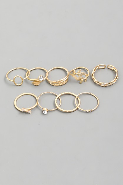 Assorted Delicate Leaf Ring Set - orangeshine.com