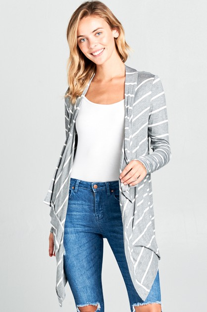 STRIPED JERSEY CASCADE CARDIGAN - orangeshine.com