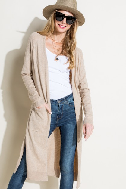 SOLID SIDE SLIT SIDE PK CARDIGAN - orangeshine.com