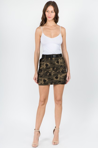 CAMO MINI SKIRTS WITH BELT - orangeshine.com