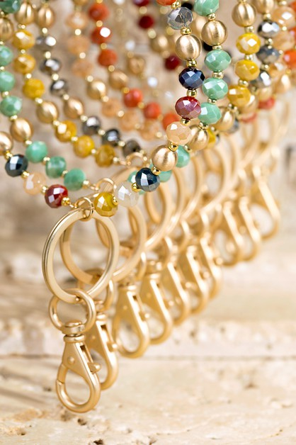 Glass Bead Key Ring Bracelet - orangeshine.com