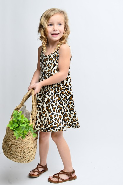KIDS SLEEVELESS LEOPARD PRINT DRESS - orangeshine.com
