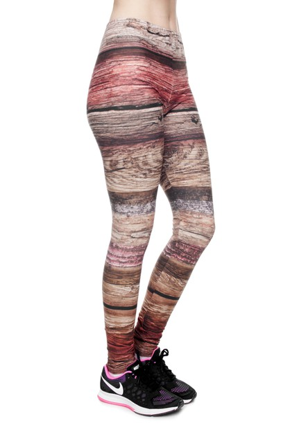 Wood Digital Printed Leggings  - orangeshine.com