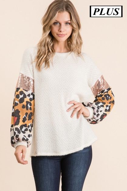 PLUS SEQUENCE SLEEVE TOP - orangeshine.com