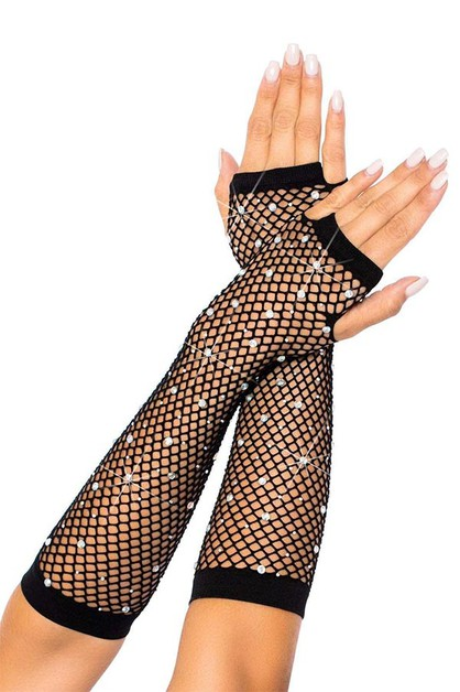 Rhinestone Fishnet Arm Warmers - orangeshine.com