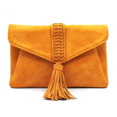 Braided Whipstitch Tassel Envelope - orangeshine.com