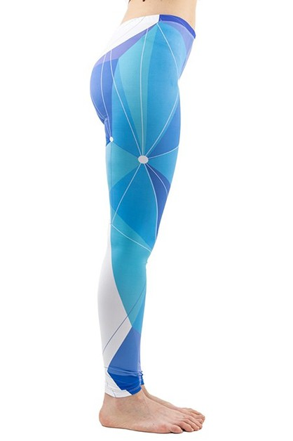 Leather Ball Blue Printed Leggings  - orangeshine.com