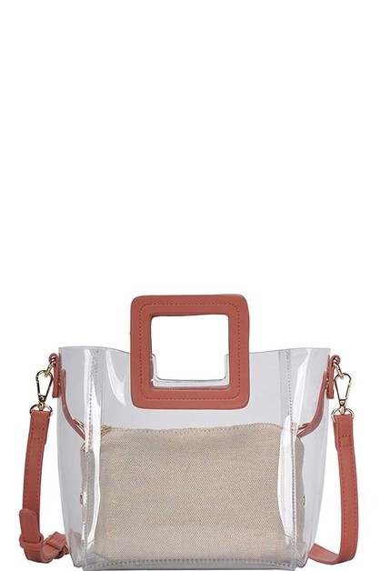 TRANSPARENT SATCHEL WITH LONG STRAP  - orangeshine.com