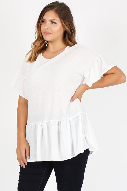 Plus size ruffled solid hue top - orangeshine.com