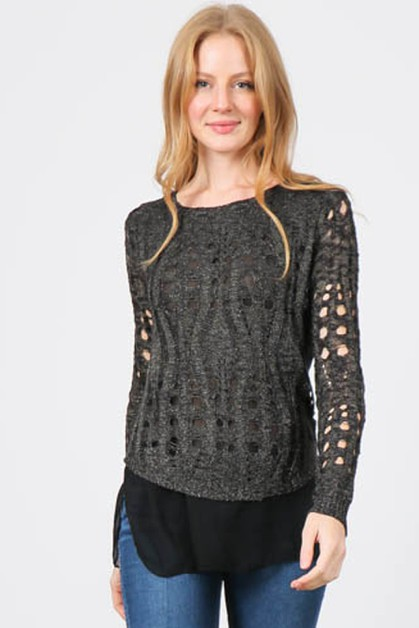 KNIT SWEATER HOLE TOP WITH CONTRAST - orangeshine.com