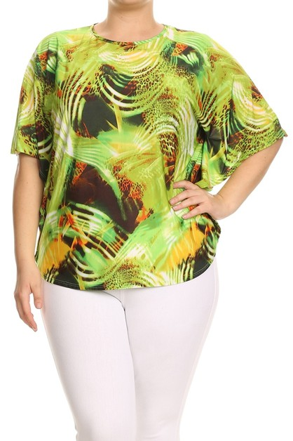 PLUS SIZE PATTERN PRINT TOP 2050LIME - orangeshine.com