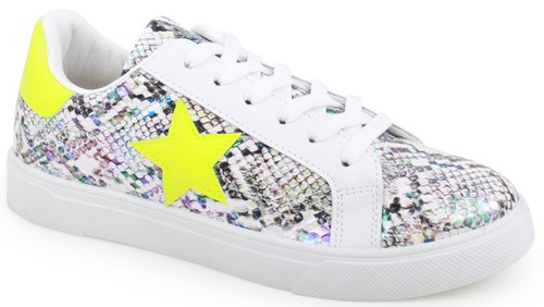 COLOR BLOCK STAR LACE UP SNEAKERS - orangeshine.com