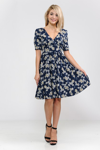 V neck fit and flare dress - orangeshine.com