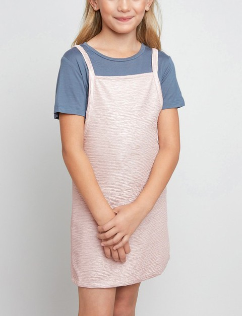 Shirt Layered Strappy Kids Dress - orangeshine.com
