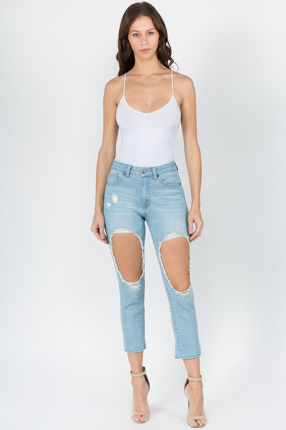 HIGH WAIST CUT OUT THIGHS DENIM JEAN - orangeshine.com