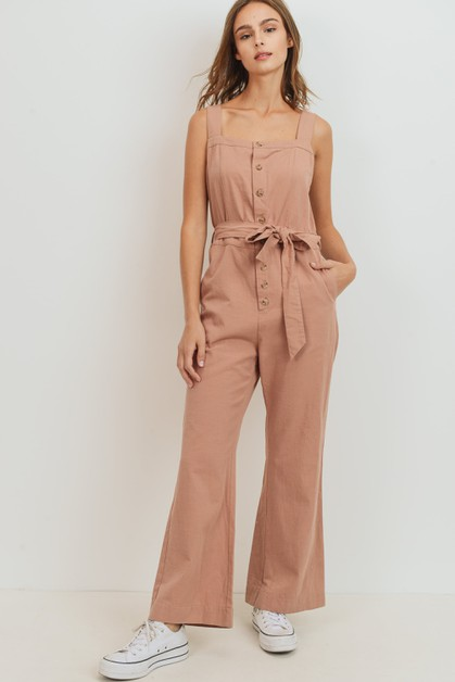 Button Down Shoulder Strap Jumpsuit - orangeshine.com