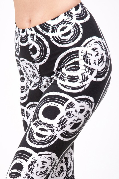ABSTRACT CIRCLE PRINT LEGGINGS  - orangeshine.com