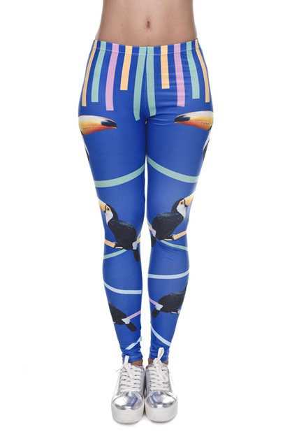 Toucan Stripe DigitalPrint Leggings - orangeshine.com