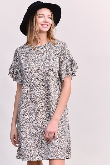 LEOPARD PRINT RUFFLED SLEEVE DRESS - orangeshine.com