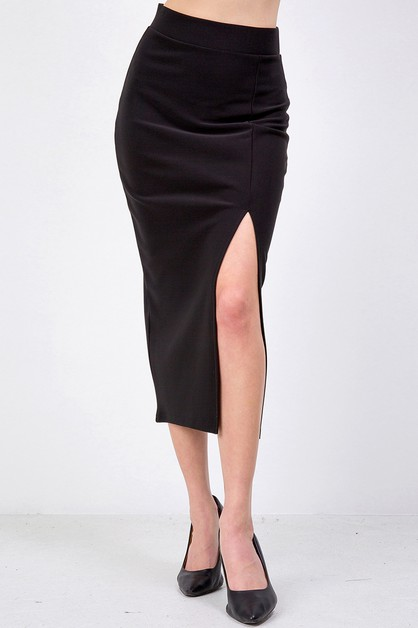 Scuba Split-Front Pencil Skirt - orangeshine.com
