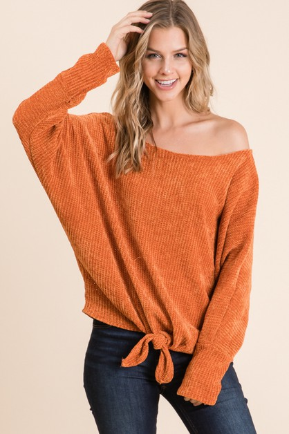 CHARMING FABRIC FRONT TIE TOP - orangeshine.com