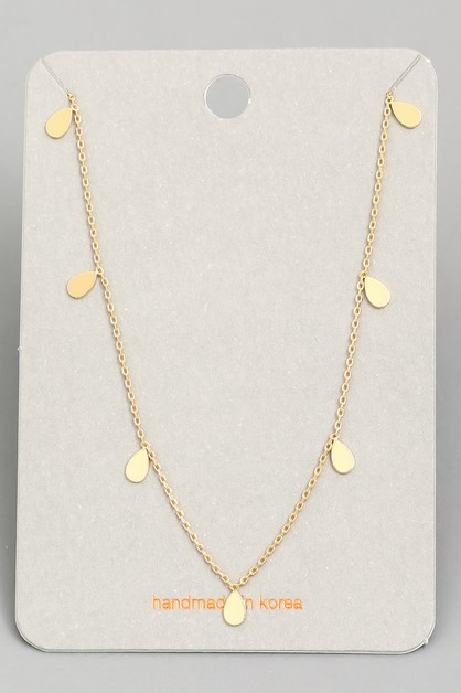 Dainty Chain Mini Teardrop Necklace - orangeshine.com
