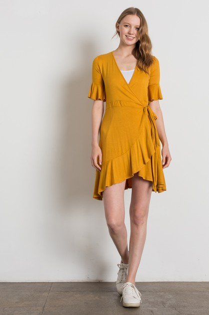 FLUTTER RUFFLED SLEEVE WRAP DRESS - orangeshine.com