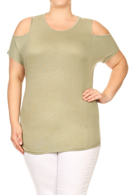 Plus Size Knit Solid Open Shoulder T - orangeshine.com