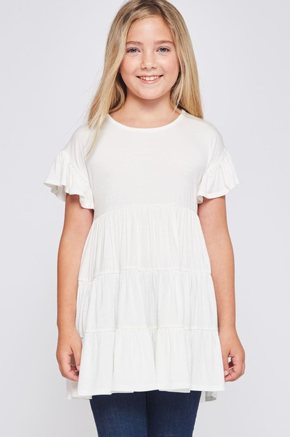 KIDS SIZE SOLID BABY DOLL TUNIC TOP - orangeshine.com
