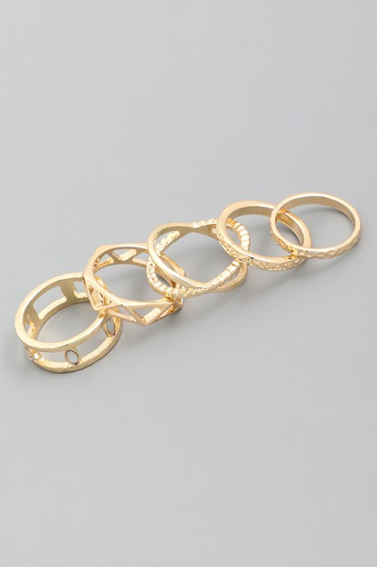 Assorted Geometric Ring Set - orangeshine.com