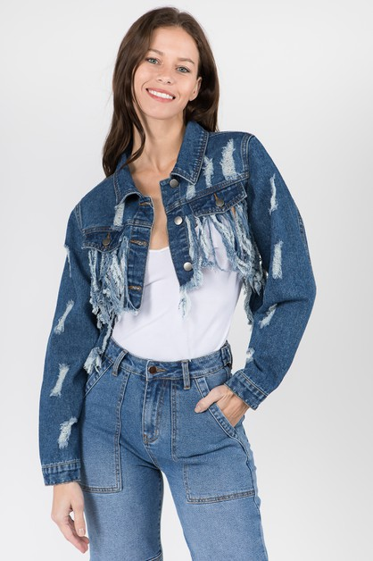 FRINGED DISTRESSED DENIM JACKETS - orangeshine.com